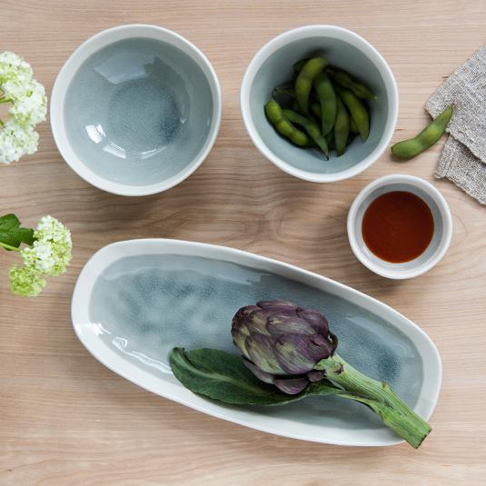 Grey ceramic servingware set