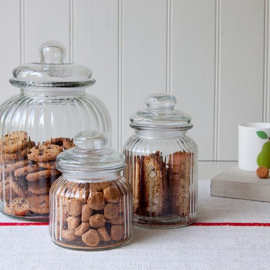 Large Traditional Ridged Glass Storage Jars