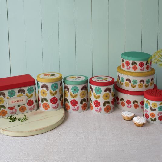 Mid Century Poppy Storage Tins