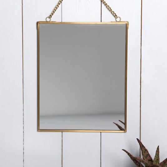 Hanging Mirror in gold metal frame