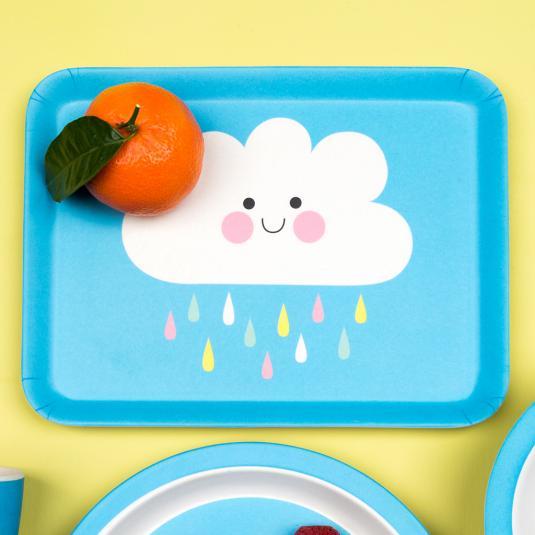 Happy Cloud Bamboo Tray