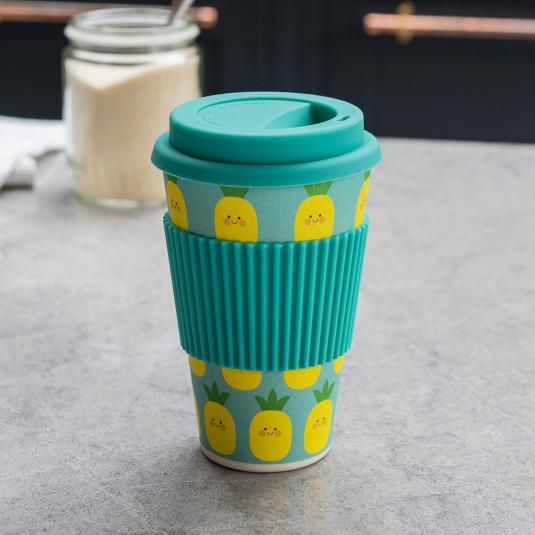 Pineapple bamboo travel cup with lid and sleeve dishwasher safe