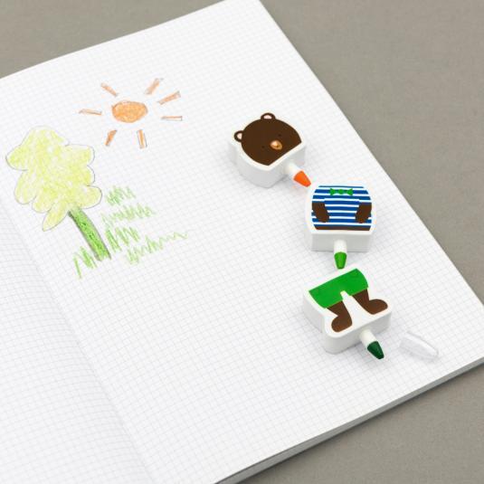 Bear tricolour crayon & eraser