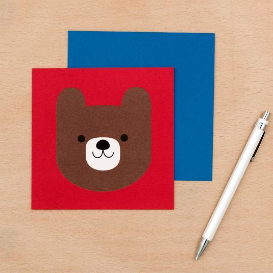 kids teddy bear red blank greetings card with blue envelope
