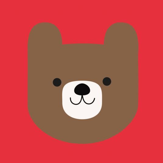 Hello Bear kids greeting Square Card