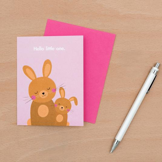 new born baby bunny family print greetings card with pink envelope