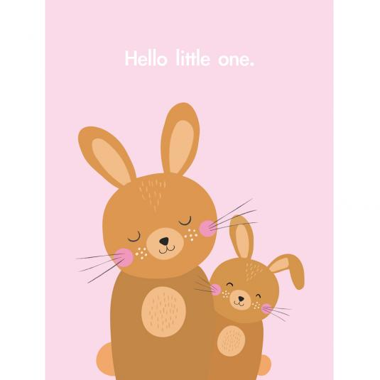 Hello Little One pink baby Bunny Small Card
