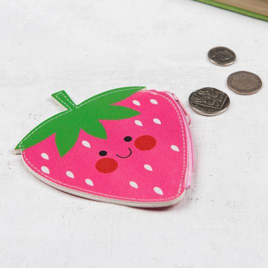 smiling strawberry mini purse