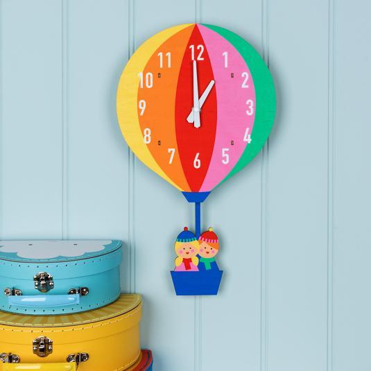 Hot air balloon wooden wall clock with swinging basket pendulum