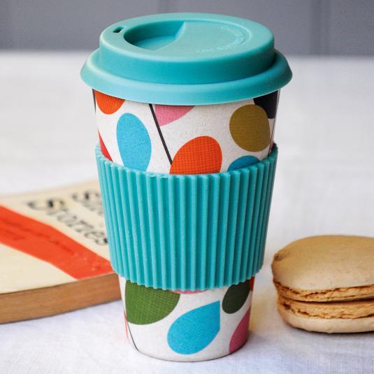 Bamboo Travel Mug with blue lid