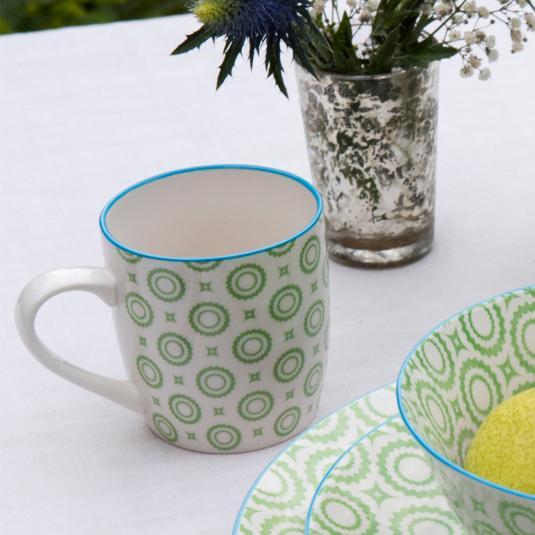 Japanese Mug Green Circles