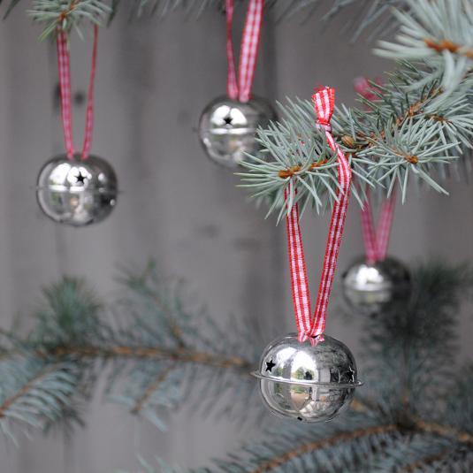 Set Of 4 Silver Jingle Bells tree decorations