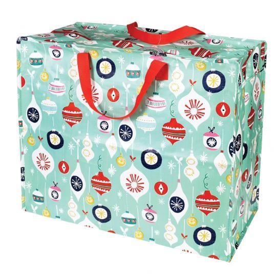 Christmas baubles print mint green reusable jumbo storage bag