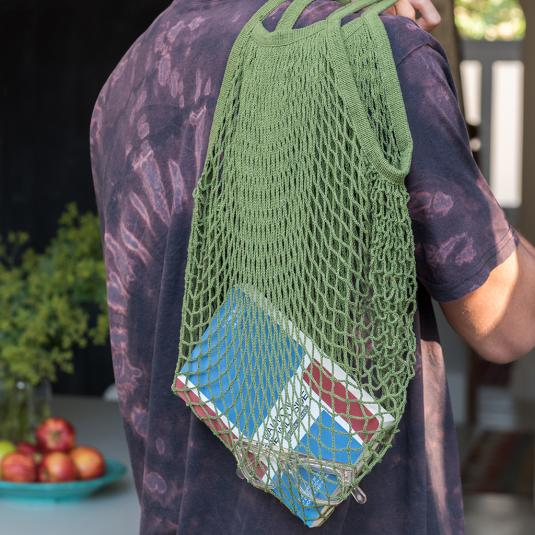 french style khaki green cotton netted bag