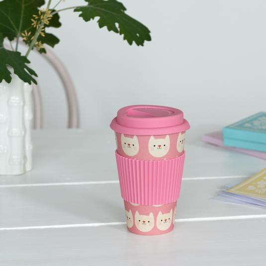 reusable pink bamboo travel coffee cup