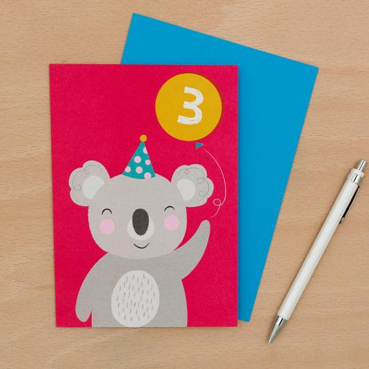 koala with balloon 3 pink birthday card with blue envelope