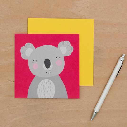 koala print pink blank greeting card with yellow envelope