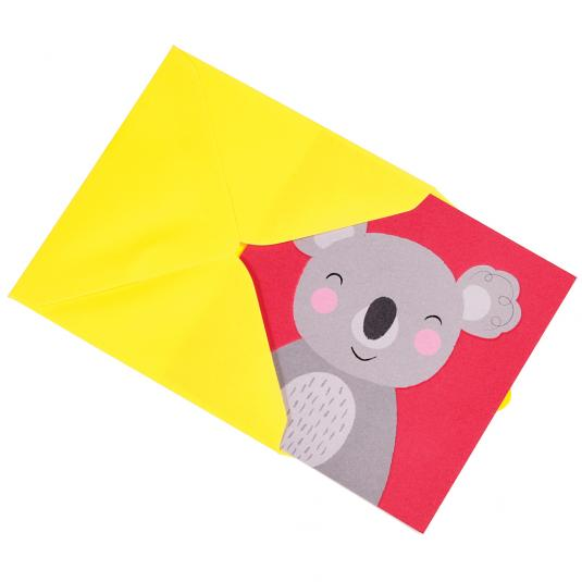 Koala Animal Friend kids greeting Card with yellow envelope