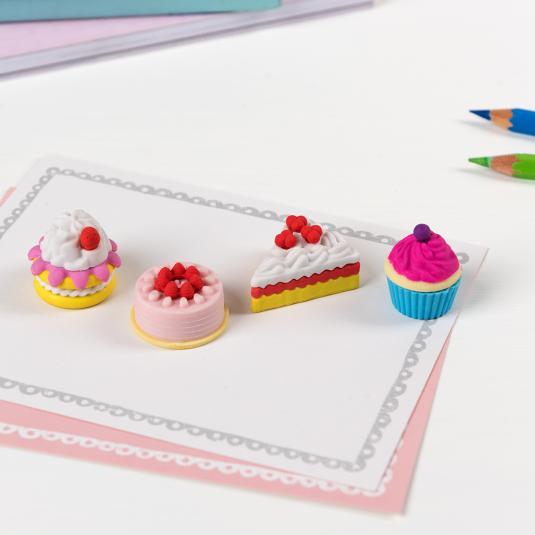 Set of four mini cake shaped erasers
