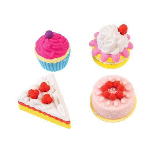 Set of four cake shaped erasers