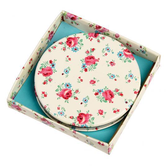 La Petite Rose Pink Floral Print Compact Mirror