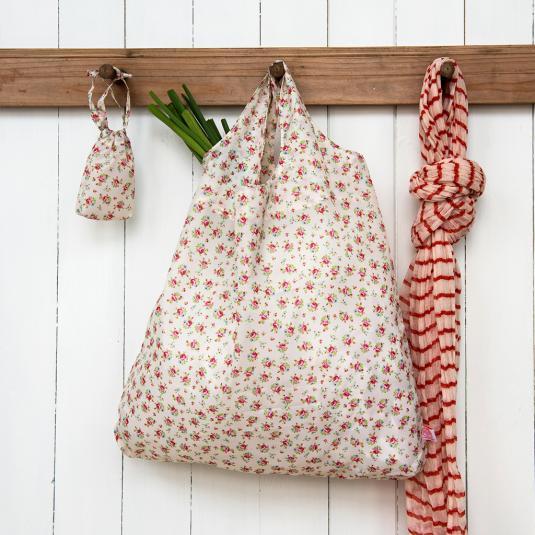 Pink Flowers Print Foldaway Shopping Bag