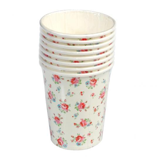 Set Of 8 La Petite Rose Tea Party Cups