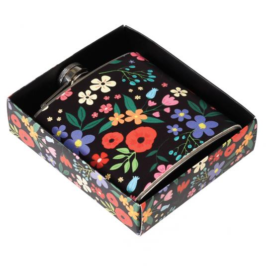 Floral Print Stainless Steel Hip Flask in a gift box