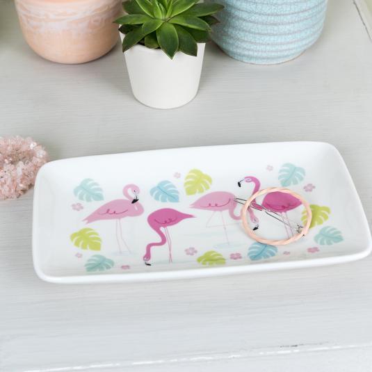 Large Flamingo Jewellery Plate