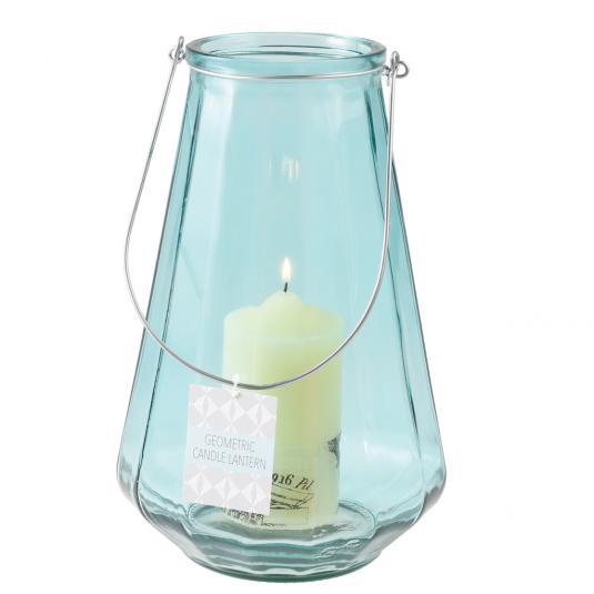 Large Geometric Blue Glass Jar Candle Holder