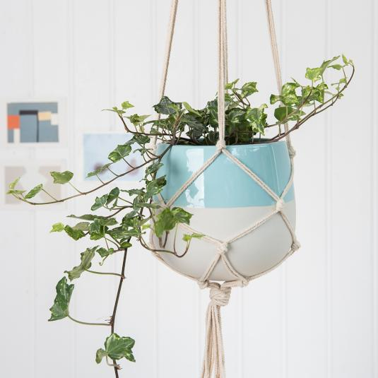 Large Paloma Ceramic Macrame Plant Pot Holder Aqua Blue