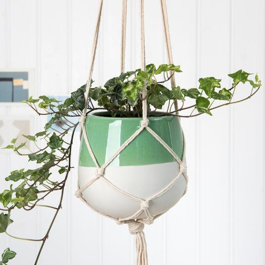 Large Paloma Ceramic Macrame Plant Pot Holder Sage Green