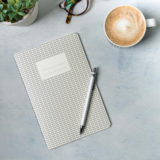 Light grey A5 notebook