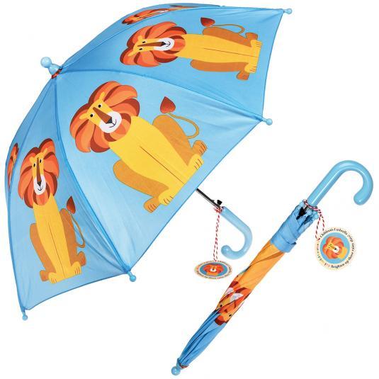 Colourful Creature Blue Kids Umbrella - Lion