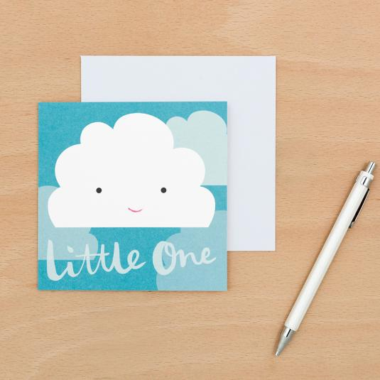newborn baby blue card with cloud print and white envelope