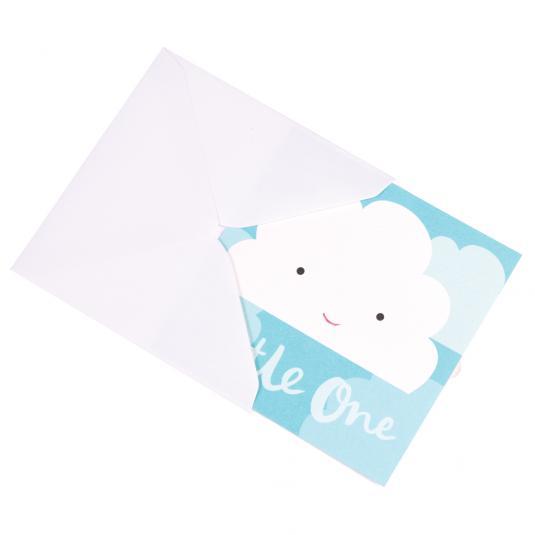 white cloud blue newborn baby boy greeting card