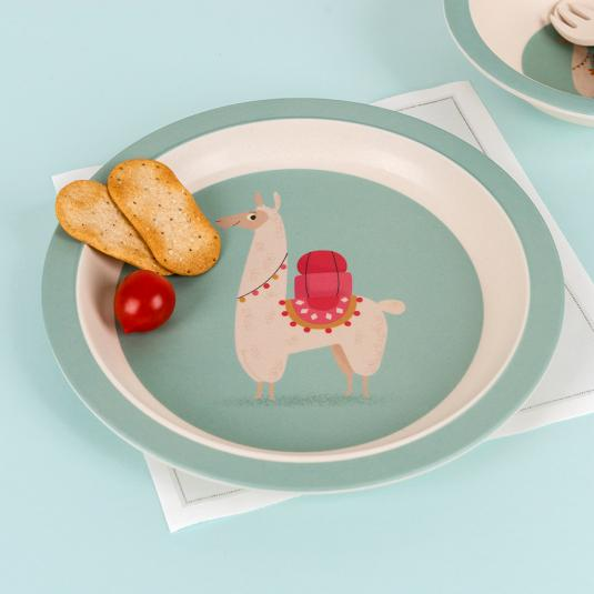 Dolly Llama bamboo plate for kids