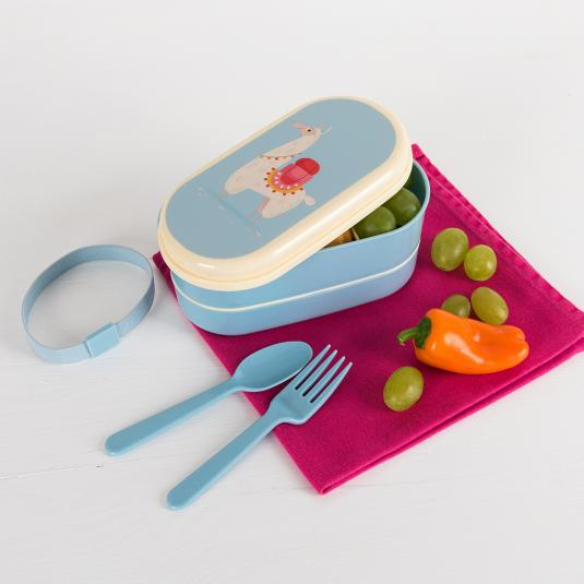 llama bento box with two compartments cutlery and plastic strap
