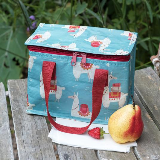 Blue llama foil insulated lunch bag with red handles