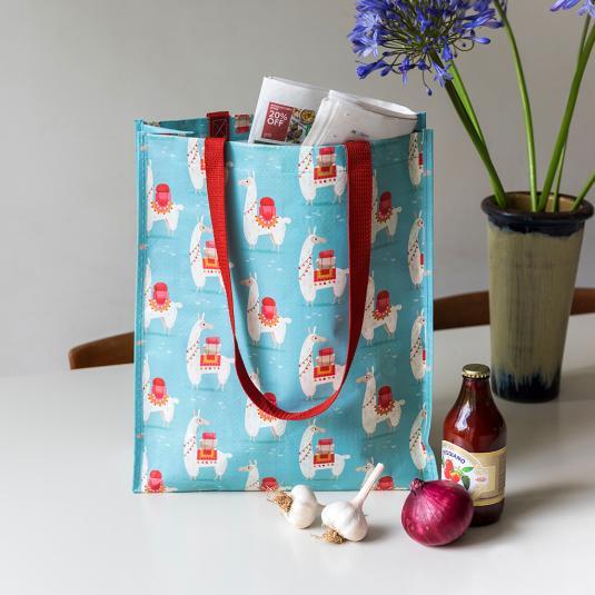 llama plastic reusable shopper bag with handles