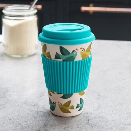 Blue and cream love birds bamboo fibre travel cup with silicone lid and sleeve