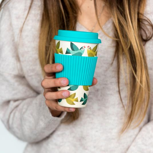 Bamboo travel cup with cream and blue love birds design