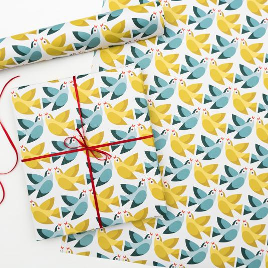 Love Birds wrapping paper (tube of 5 sheets)