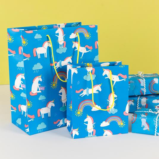 blue gift bags - unicorn print