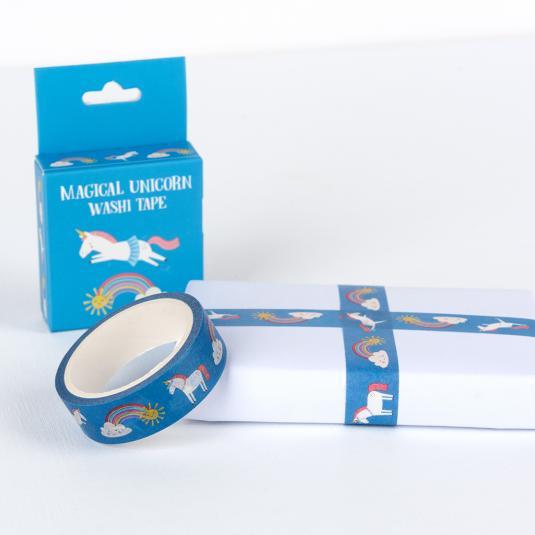 kids blue Washi Tape with unicorn and rainbow print