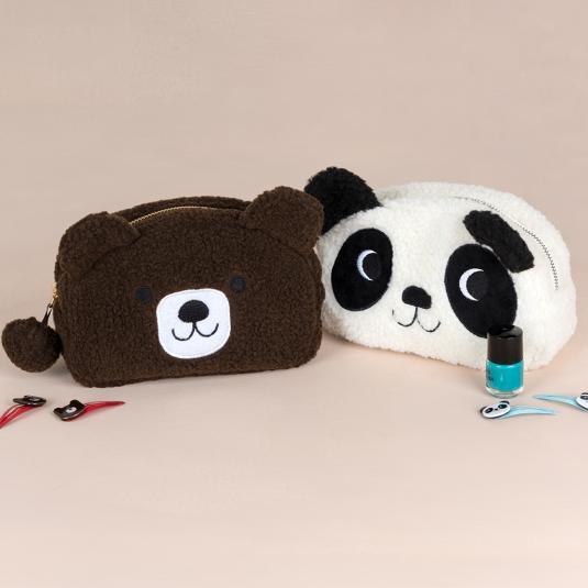 fleece bear face shaped and panda face shaped cosmetic bag