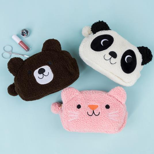 fluffy fleece toiletry bags animal shaped: panda, cat, bear