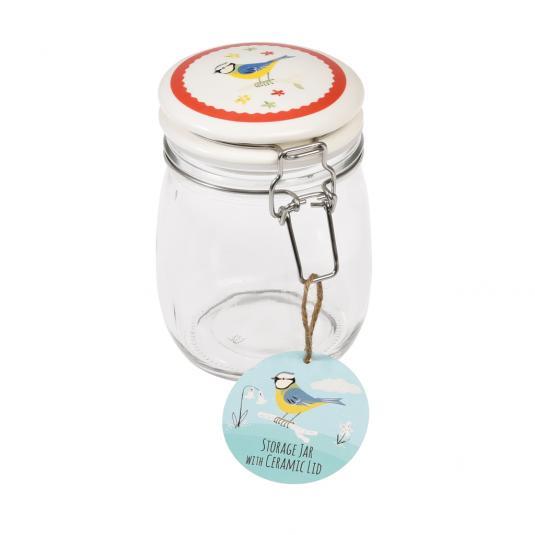 Medium Blue Tit Design Glass Jar