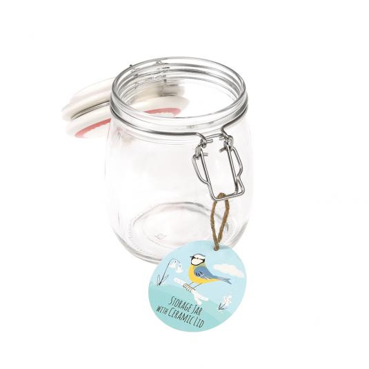 750 ml Glass Jar with Ceramic Blue Tit Print Lid