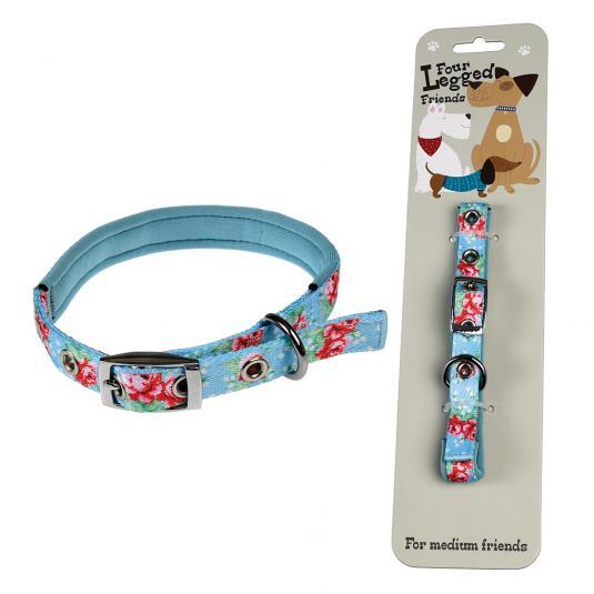 Medium Blue Floral Dog Collar